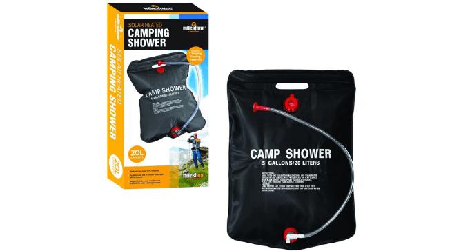 ducha solar marca Milestone Camping